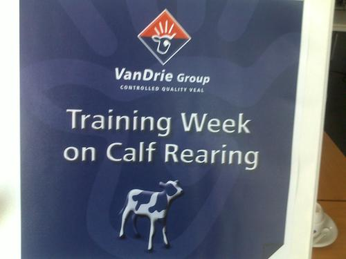 Weekly training on milk replacers for calves. Visit to Schils.